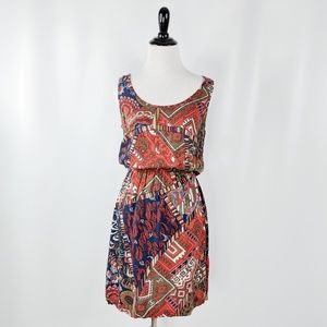 Lucky Brand sleeveless tribal print dress tan blue